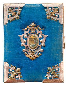 journal diary blue gold vintage