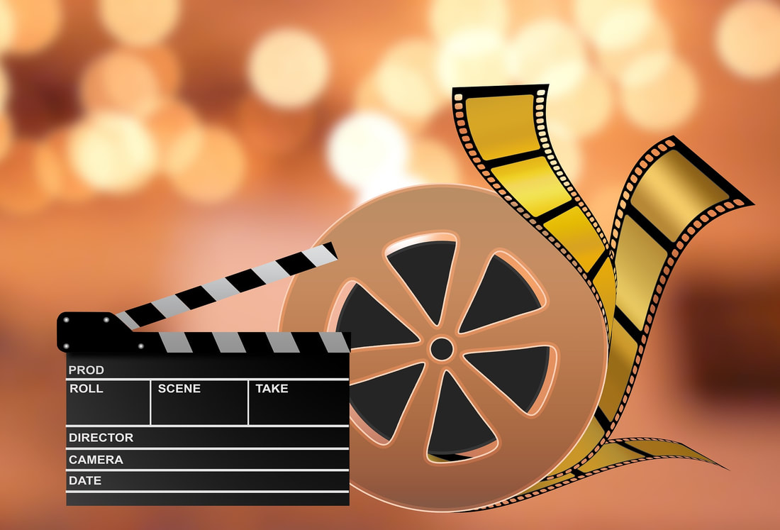 movie reel and film gold