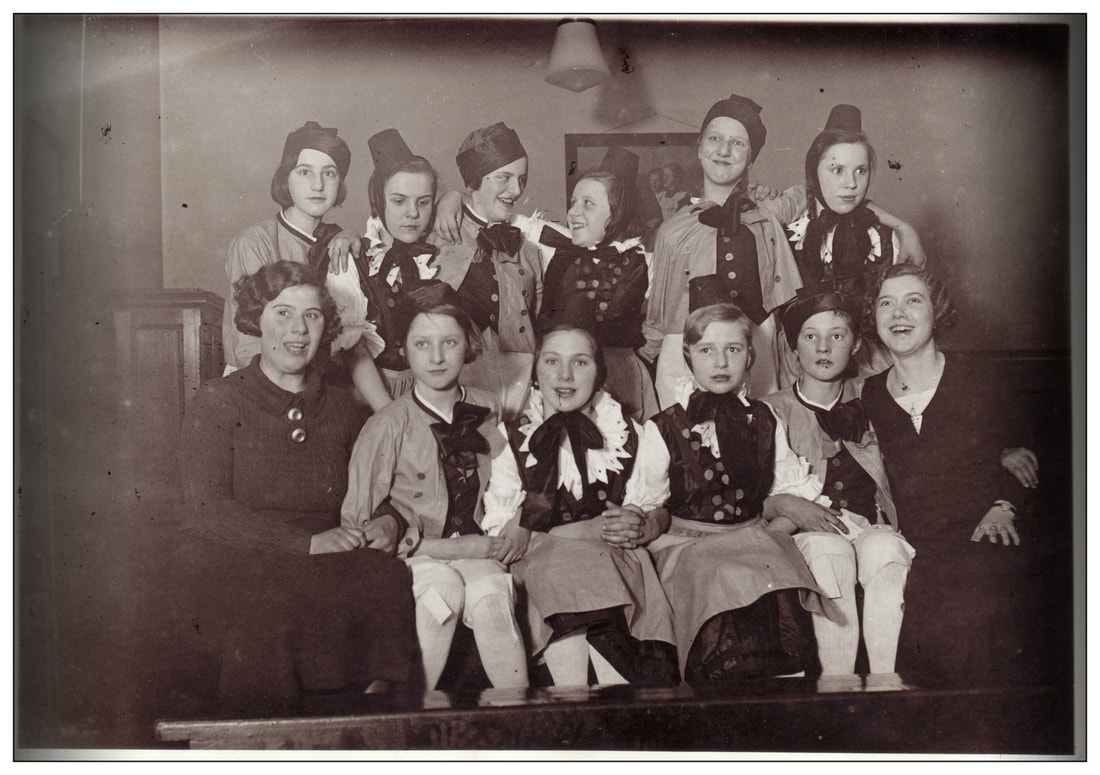 black and white photo group of women